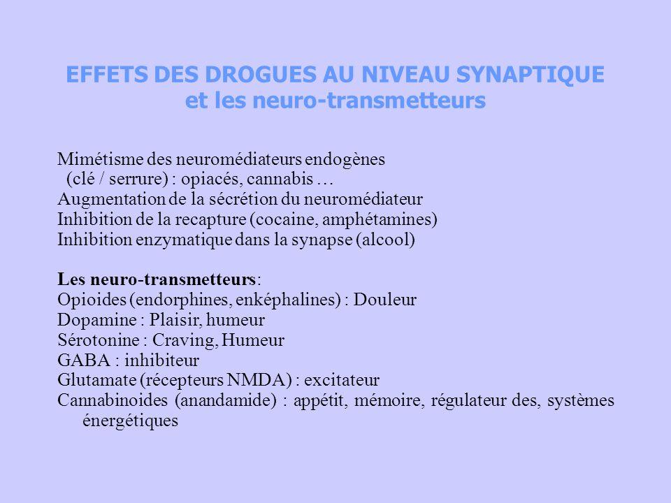 EFFETS DES DROGUES AU NIVEAU SYNAPTIQUE et les neuro-transmetteurs Mimétisme des neuromédiateurs endogènes (clé / serrure) : opiacés, cannabis … Augme