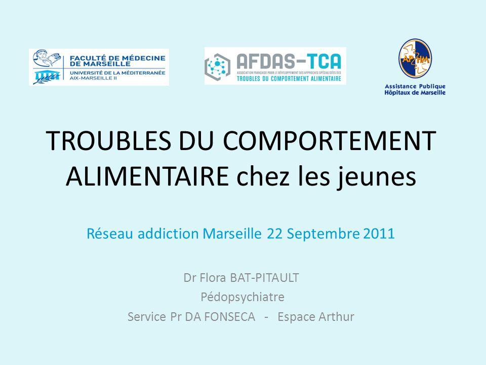 TROUBLES DU COMPORTEMENT ALIMENTAIRE chez les jeunes Réseau addiction Marseille 22 Septembre 2011 Dr Flora BAT-PITAULT Pédopsychiatre Service Pr DA FO