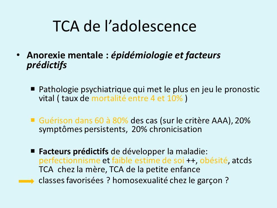 TCA de ladolescence Anorexie mentale : épidémiologie et facteurs prédictifs Pathologie psychiatrique qui met le plus en jeu le pronostic vital ( taux