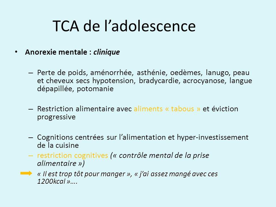 TCA de ladolescence Anorexie mentale : clinique – Perte de poids, aménorrhée, asthénie, oedèmes, lanugo, peau et cheveux secs hypotension, bradycardie