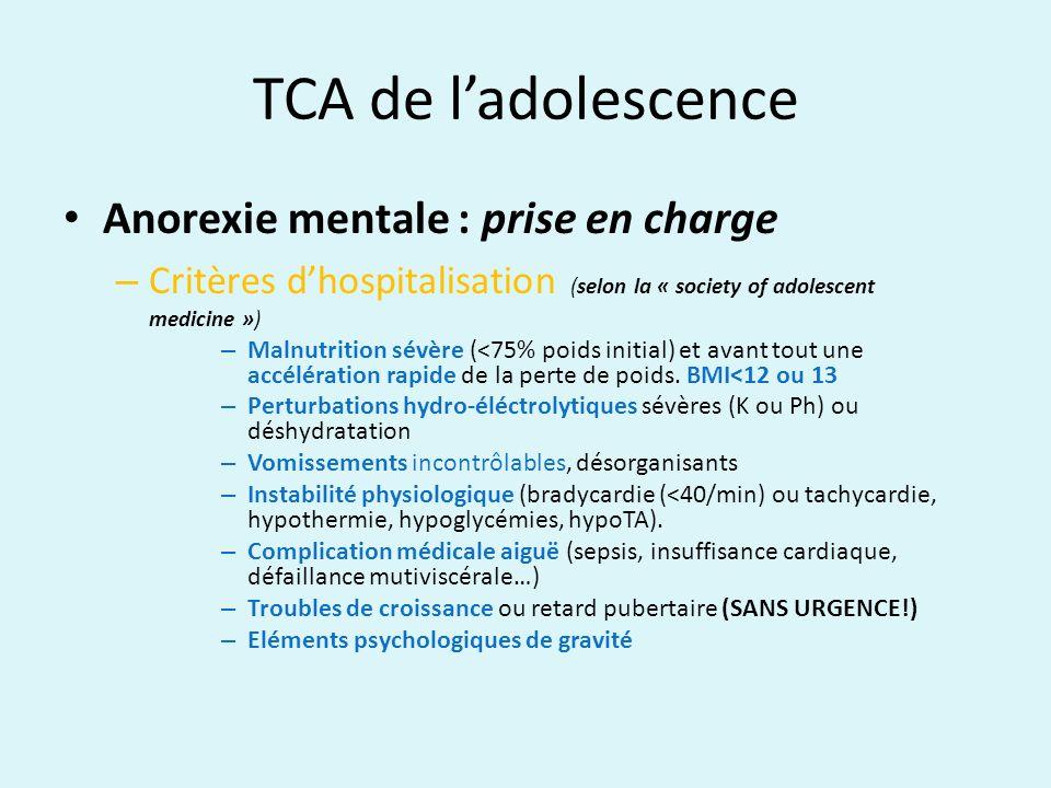 TCA de ladolescence Anorexie mentale : prise en charge – Critères dhospitalisation (selon la « society of adolescent medicine ») – Malnutrition sévère