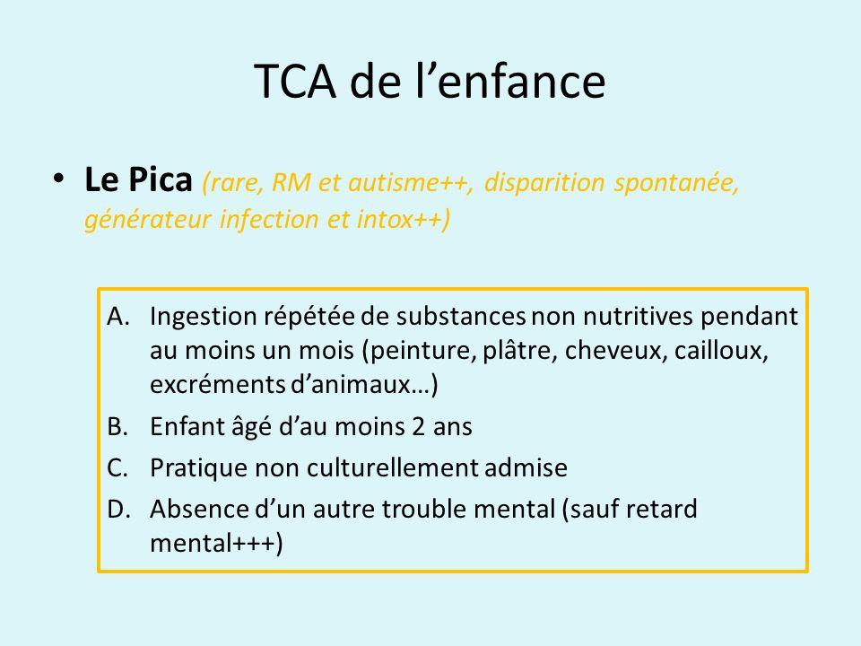 TCA de lenfance Le Mérycisme (rare, début<1an, garçon, posture caractéristique, générateur malnutrition-déshydrat-tbles dig) A.Régurgitation répétée et remastication de la nourriture pendant au moins un mois après une période de fonctionnement normal B.Non lié à une maladie gastro-intestinale ou autre affection médicale (RGO) C.Ne survient pas exclusivement pendant une Anorexie mentale ou une Boulimie.