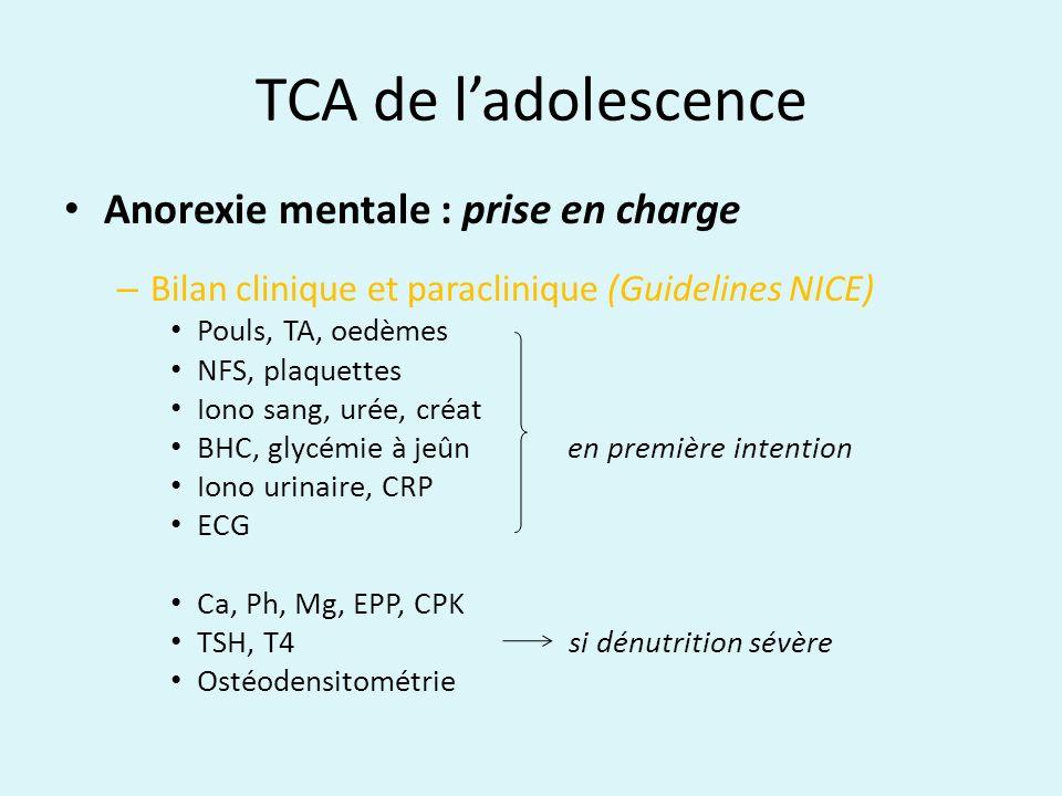 TCA de ladolescence Anorexie mentale : prise en charge – Bilan clinique et paraclinique (Guidelines NICE) Pouls, TA, oedèmes NFS, plaquettes Iono sang
