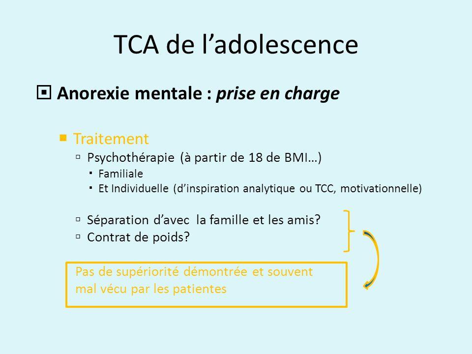 TCA de ladolescence Anorexie mentale : prise en charge Traitement Psychothérapie (à partir de 18 de BMI…) Familiale Et Individuelle (dinspiration anal