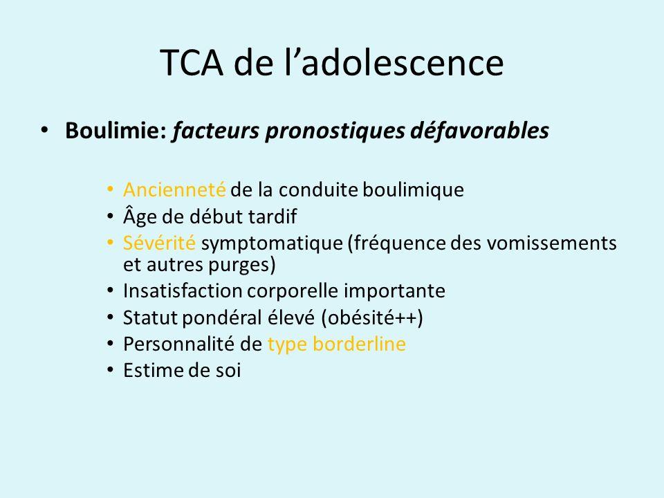 TCA de ladolescence Boulimie: facteurs pronostiques défavorables Ancienneté de la conduite boulimique Âge de début tardif Sévérité symptomatique (fréq