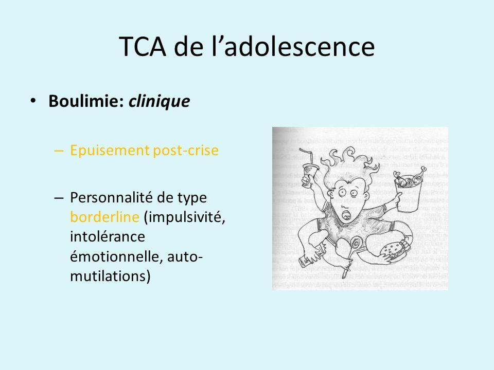 TCA de ladolescence Boulimie: clinique – Epuisement post-crise – Personnalité de type borderline (impulsivité, intolérance émotionnelle, auto- mutilat