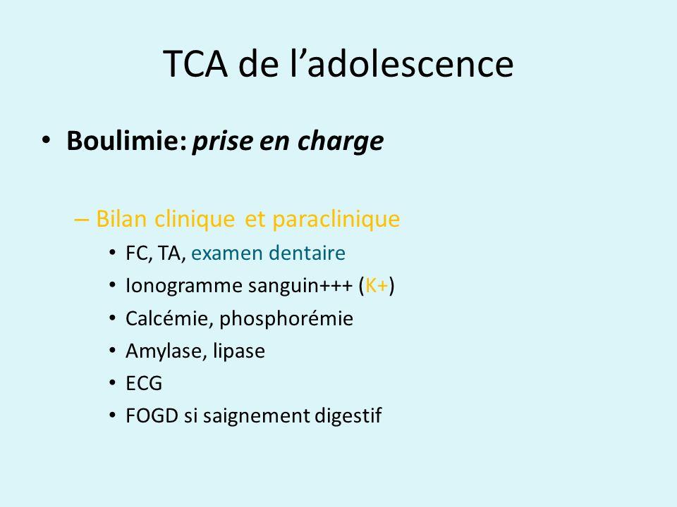 TCA de ladolescence Boulimie: prise en charge – Bilan clinique et paraclinique FC, TA, examen dentaire Ionogramme sanguin+++ (K+) Calcémie, phosphorém
