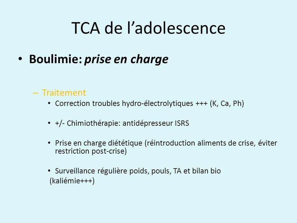 TCA de ladolescence Boulimie: prise en charge – Traitement Correction troubles hydro-électrolytiques +++ (K, Ca, Ph) +/- Chimiothérapie: antidépresseu