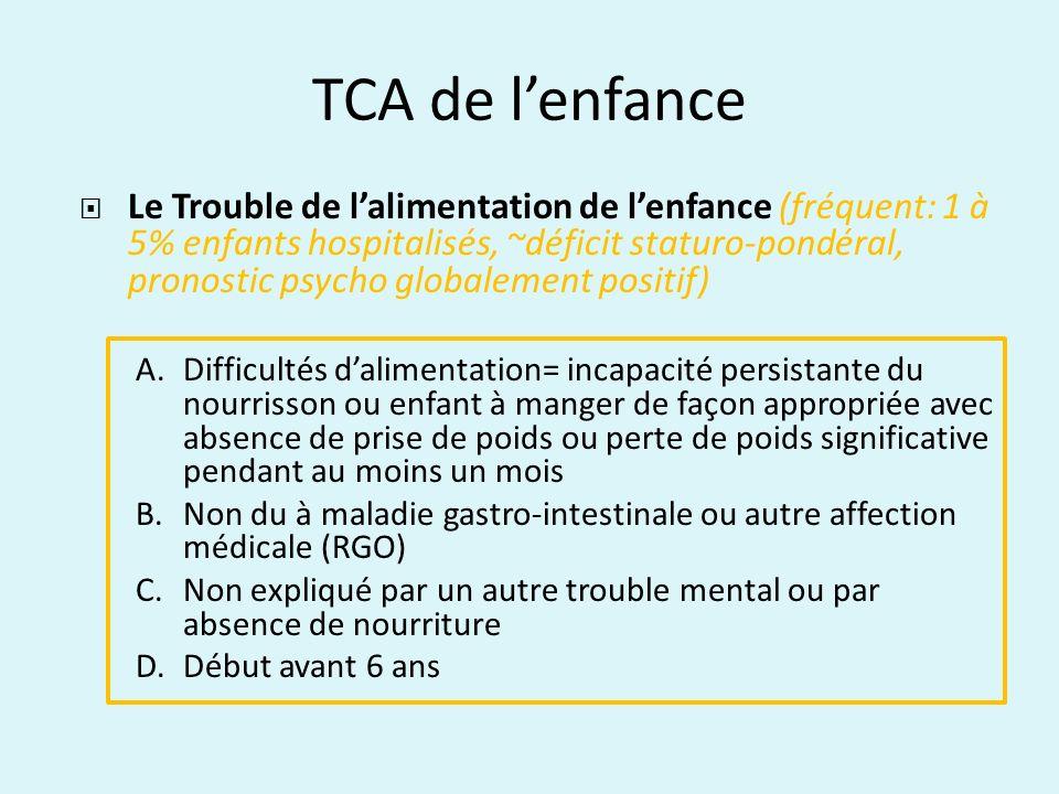 TCA de lenfance Le Trouble de lalimentation de lenfance (fréquent: 1 à 5% enfants hospitalisés, ~déficit staturo-pondéral, pronostic psycho globalemen
