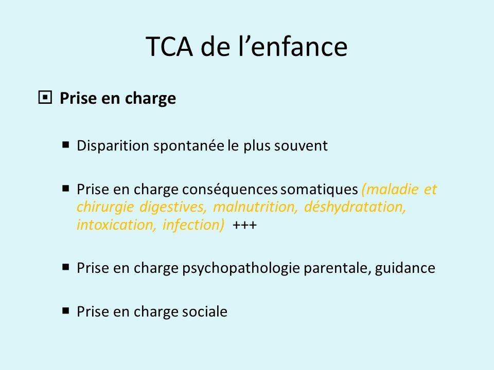 TCA de lenfance Prise en charge Disparition spontanée le plus souvent Prise en charge conséquences somatiques (maladie et chirurgie digestives, malnut