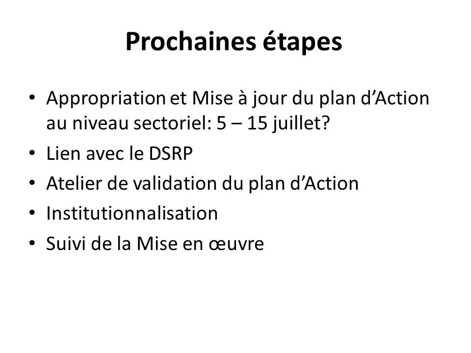 Prochaines étapes Appropriation et Mise à jour du plan dAction au niveau sectoriel: 5 – 15 juillet.