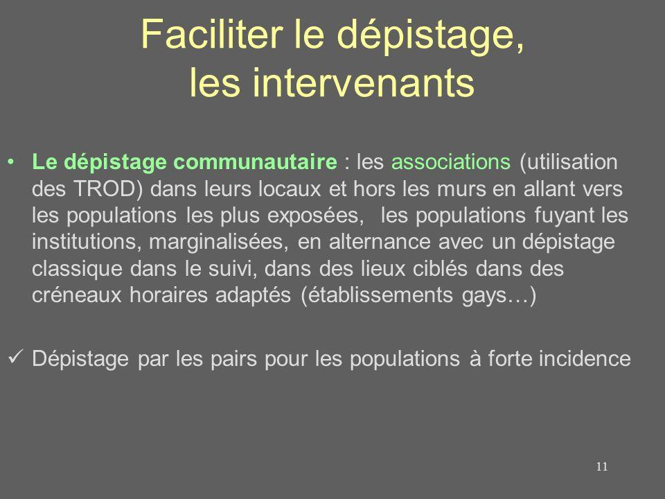 Faciliter le dépistage, les intervenants Le dépistage communautaire : les associations (utilisation des TROD) dans leurs locaux et hors les murs en al