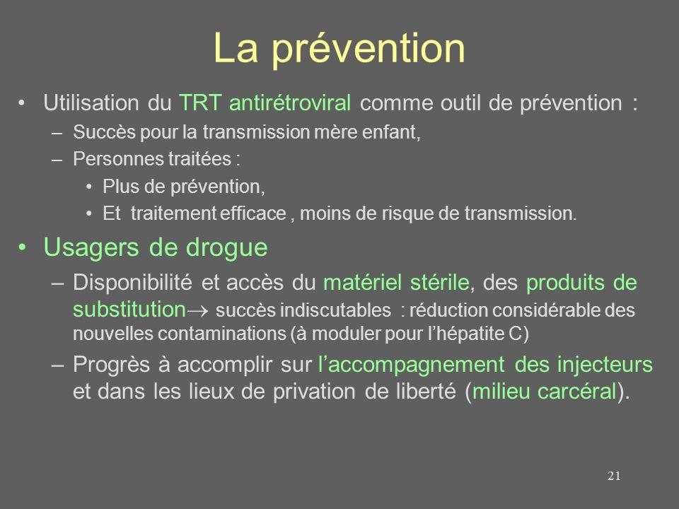 La prévention Utilisation du TRT antirétroviral comme outil de prévention : –Succès pour la transmission mère enfant, –Personnes traitées : Plus de pr