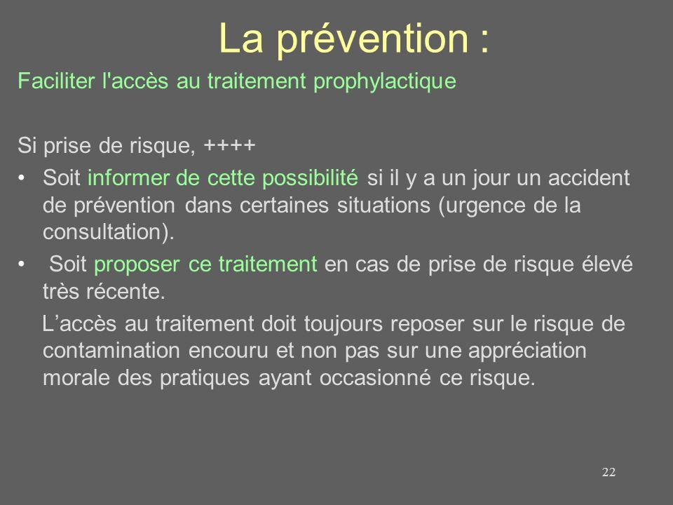 La prévention : Faciliter l'accès au traitement prophylactique Si prise de risque, ++++ Soit informer de cette possibilité si il y a un jour un accide
