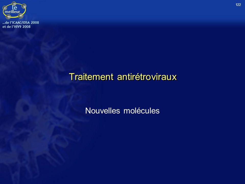 le meilleur …de IICAAC/IDSA 2008 et de lHIV9 2008 Traitement antirétroviraux Nouvelles molécules 122