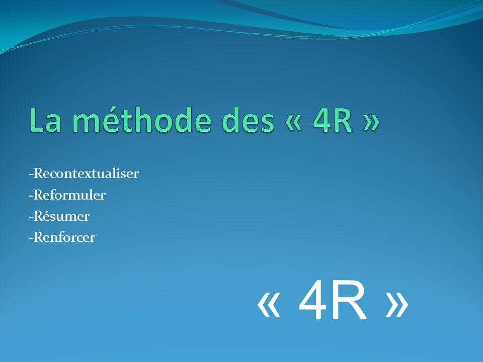 -Recontextualiser -Reformuler -Résumer -Renforcer « 4R »