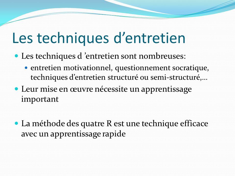 Les techniques dentretien Les techniques d entretien sont nombreuses: entretien motivationnel, questionnement socratique, techniques dentretien struct