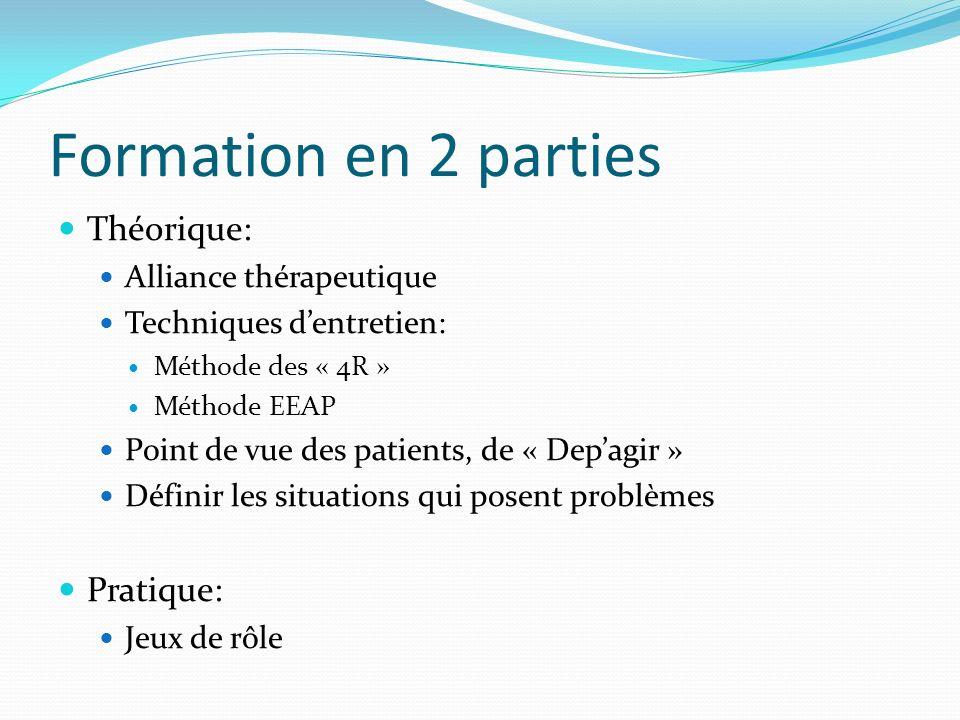 Formation en 2 parties Théorique: Alliance thérapeutique Techniques dentretien: Méthode des « 4R » Méthode EEAP Point de vue des patients, de « Depagi