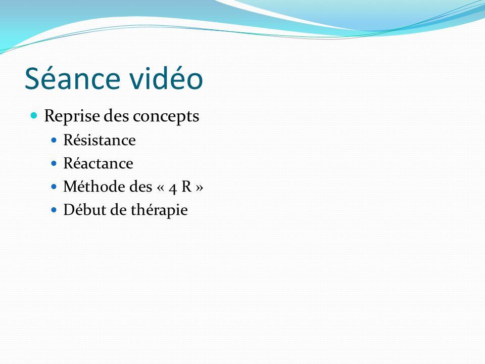 Séance vidéo Reprise des concepts Résistance Réactance Méthode des « 4 R » Début de thérapie