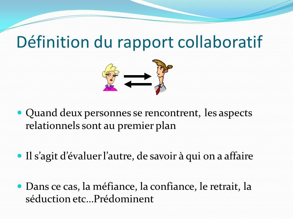 Définition du rapport collaboratif Quand deux personnes se rencontrent, les aspects relationnels sont au premier plan Il sagit dévaluer lautre, de sav