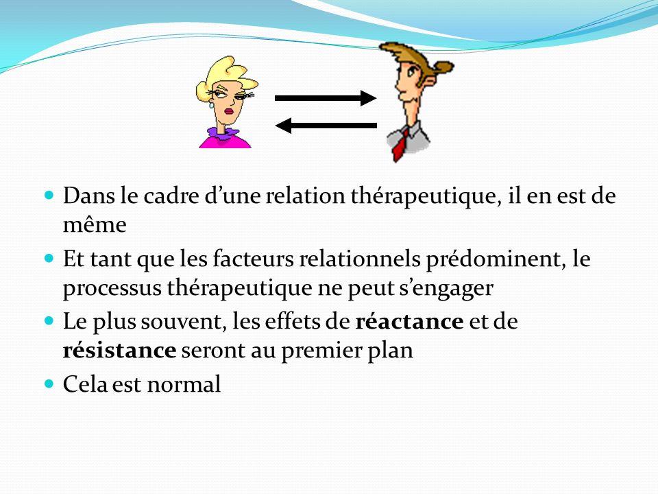 Dans le cadre dune relation thérapeutique, il en est de même Et tant que les facteurs relationnels prédominent, le processus thérapeutique ne peut sen