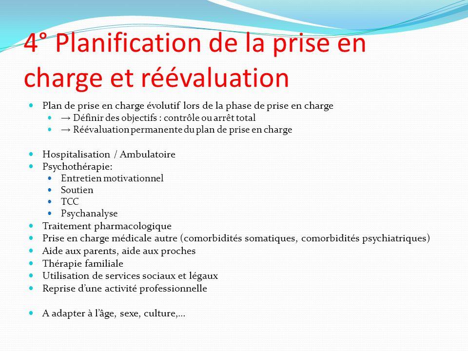 4° Planification de la prise en charge et réévaluation Plan de prise en charge évolutif lors de la phase de prise en charge Définir des objectifs : co