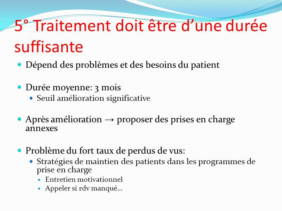5° Traitement doit être dune durée suffisante Dépend des problèmes et des besoins du patient Durée moyenne: 3 mois Seuil amélioration significative Ap
