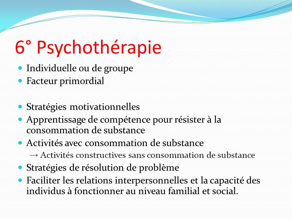 6° Psychothérapie Individuelle ou de groupe Facteur primordial Stratégies motivationnelles Apprentissage de compétence pour résister à la consommation