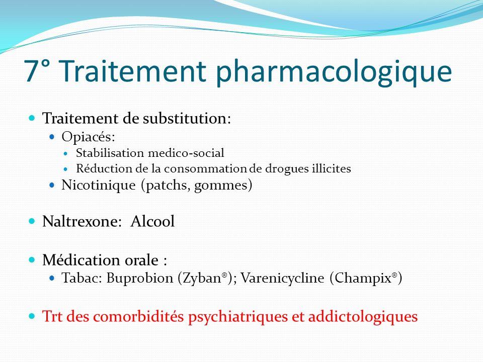 7° Traitement pharmacologique Traitement de substitution: Opiacés: Stabilisation medico-social Réduction de la consommation de drogues illicites Nicot