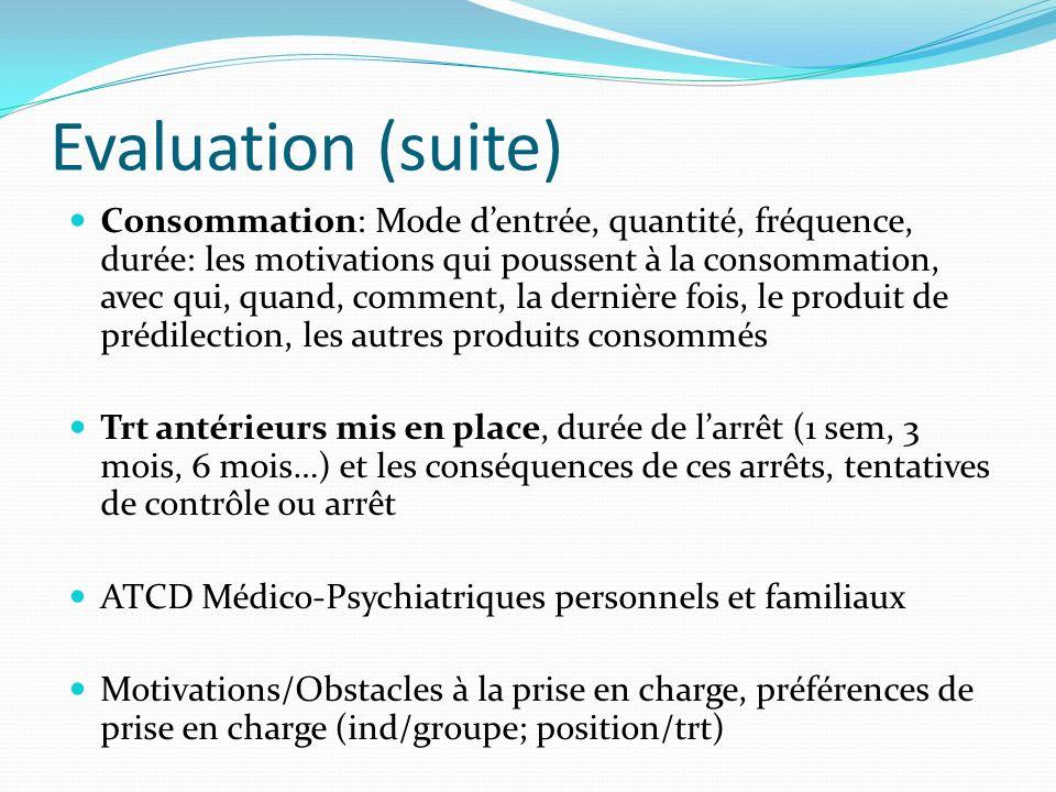 Evaluation (suite) Consommation: Mode dentrée, quantité, fréquence, durée: les motivations qui poussent à la consommation, avec qui, quand, comment, l