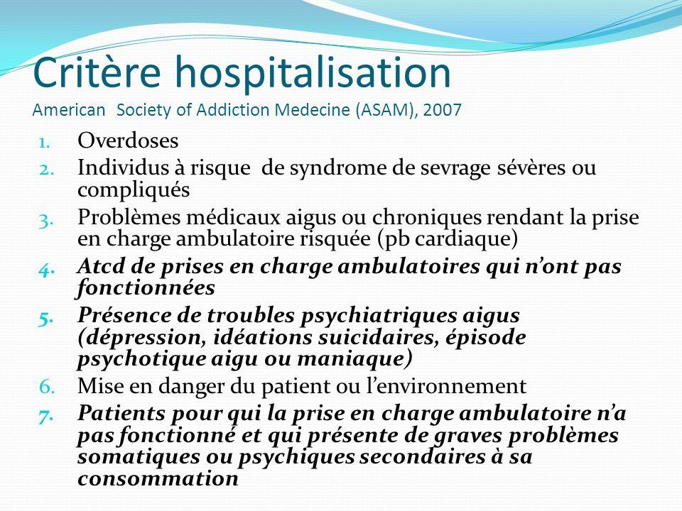 Critère hospitalisation American Society of Addiction Medecine (ASAM), 2007 1. Overdoses 2. Individus à risque de syndrome de sevrage sévères ou compl