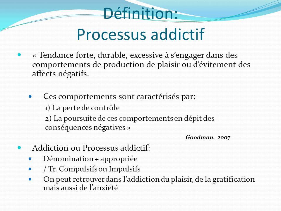 Définition: Processus addictif « Tendance forte, durable, excessive à sengager dans des comportements de production de plaisir ou dévitement des affec