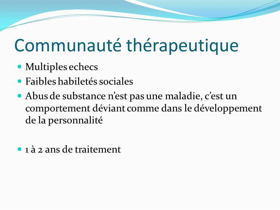 Communauté thérapeutique Multiples echecs Faibles habiletés sociales Abus de substance nest pas une maladie, cest un comportement déviant comme dans l