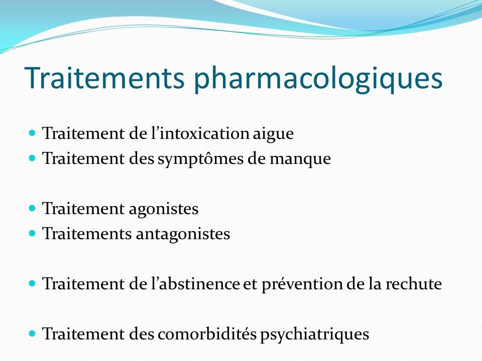 Traitements pharmacologiques Traitement de lintoxication aigue Traitement des symptômes de manque Traitement agonistes Traitements antagonistes Traite
