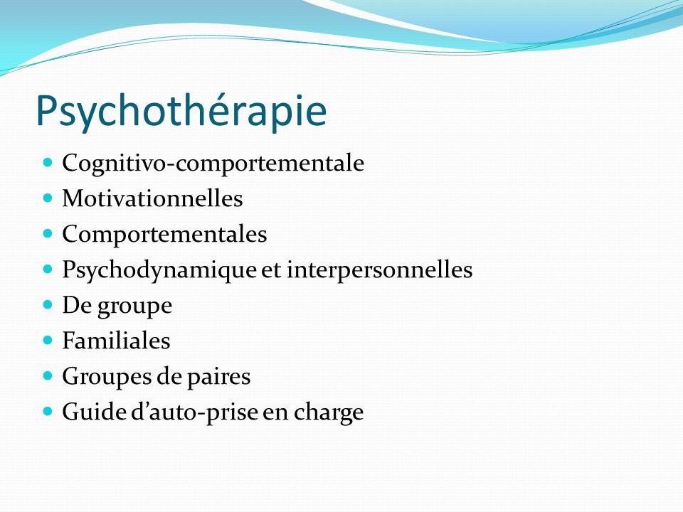 Cognitivo-comportementale Motivationnelles Comportementales Psychodynamique et interpersonnelles De groupe Familiales Groupes de paires Guide dauto-pr