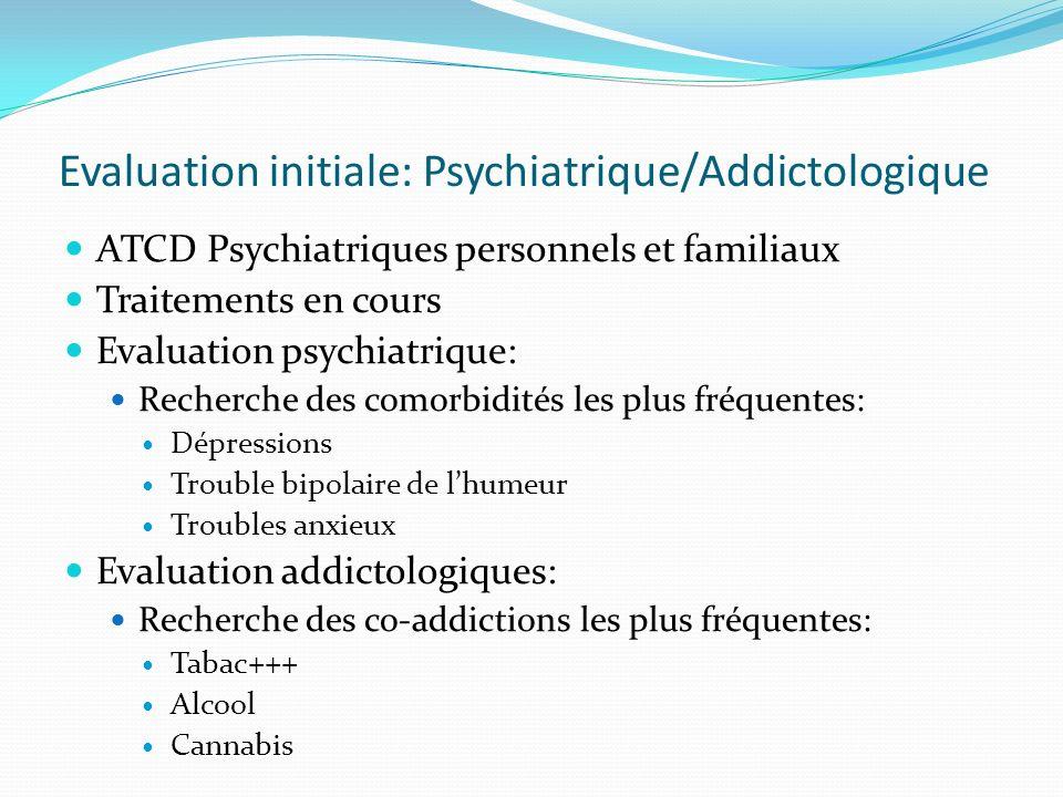 Evaluation initiale: Psychiatrique/Addictologique ATCD Psychiatriques personnels et familiaux Traitements en cours Evaluation psychiatrique: Recherche