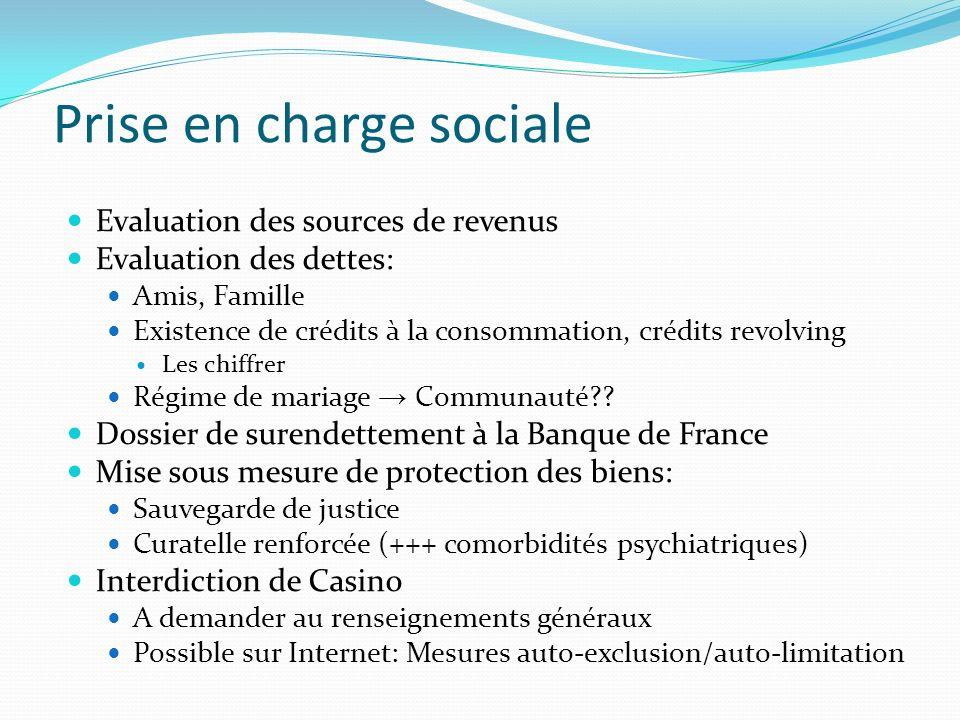 Prise en charge sociale Evaluation des sources de revenus Evaluation des dettes: Amis, Famille Existence de crédits à la consommation, crédits revolvi