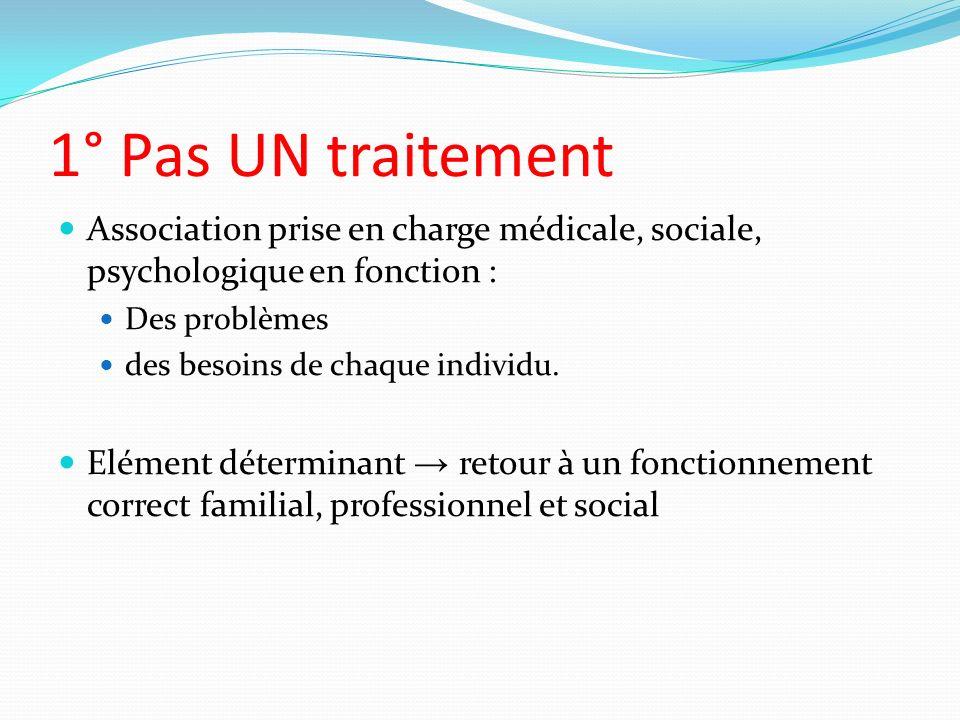 1° Pas UN traitement Association prise en charge médicale, sociale, psychologique en fonction : Des problèmes des besoins de chaque individu. Elément