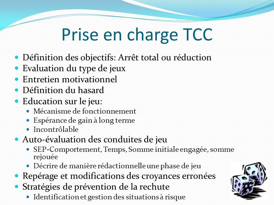 Prise en charge TCC Définition des objectifs: Arrêt total ou réduction Evaluation du type de jeux Entretien motivationnel Définition du hasard Educati