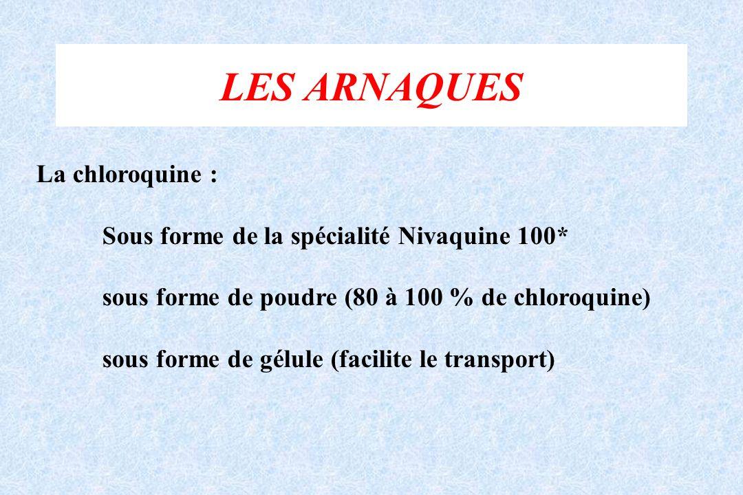 LES ARNAQUES La chloroquine : Sous forme de la spécialité Nivaquine 100* sous forme de poudre (80 à 100 % de chloroquine) sous forme de gélule (facili