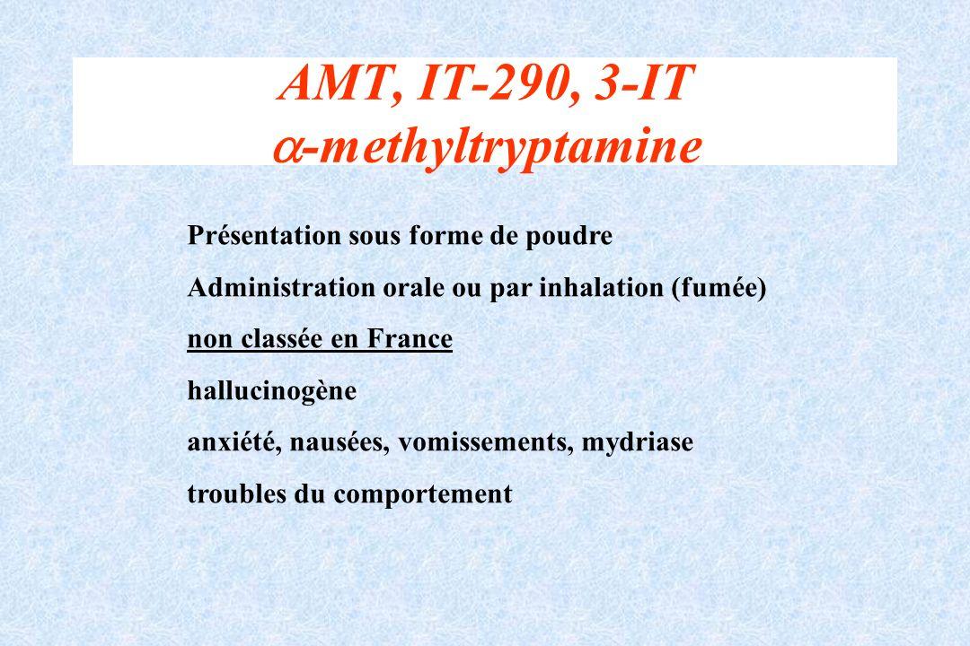 AMT, IT-290, 3-IT -methyltryptamine Présentation sous forme de poudre Administration orale ou par inhalation (fumée) non classée en France hallucinogè