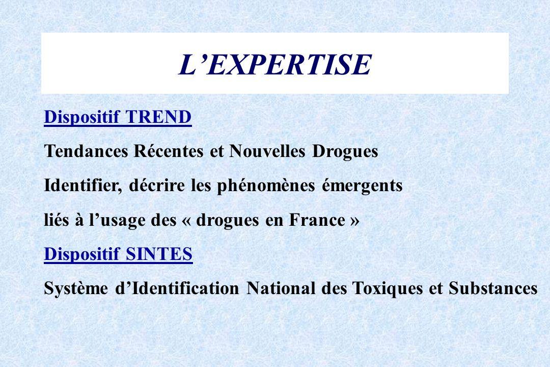LEXPERTISE Dispositif TREND Tendances Récentes et Nouvelles Drogues Identifier, décrire les phénomènes émergents liés à lusage des « drogues en France