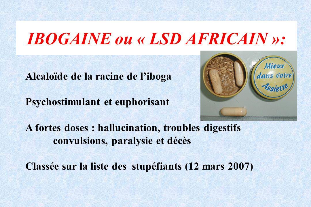 IBOGAINE ou « LSD AFRICAIN »: Alcaloïde de la racine de liboga Psychostimulant et euphorisant A fortes doses : hallucination, troubles digestifs convu