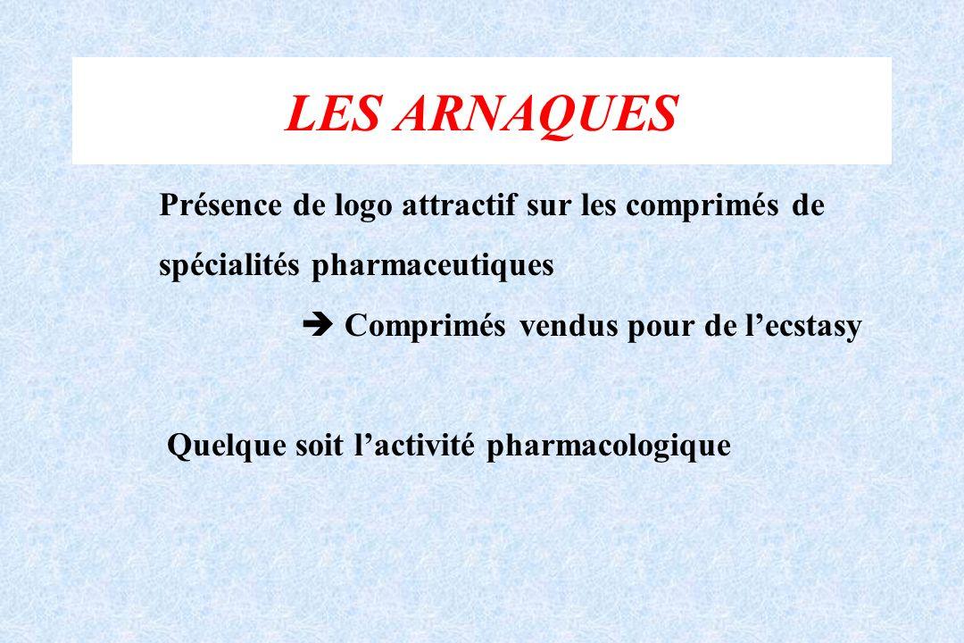 LES ARNAQUES Présence de logo attractif sur les comprimés de spécialités pharmaceutiques Comprimés vendus pour de lecstasy Quelque soit lactivité phar