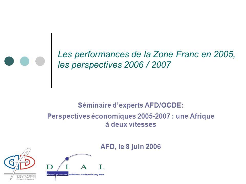 Les performances de la Zone Franc en 2005, les perspectives 2006 / 2007 Séminaire dexperts AFD/OCDE: Perspectives économiques 2005-2007 : une Afrique à deux vitesses AFD, le 8 juin 2006