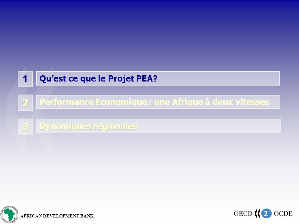 2 AFRICAN DEVELOPMENT BANK 1 Quest ce que le Projet PEA.