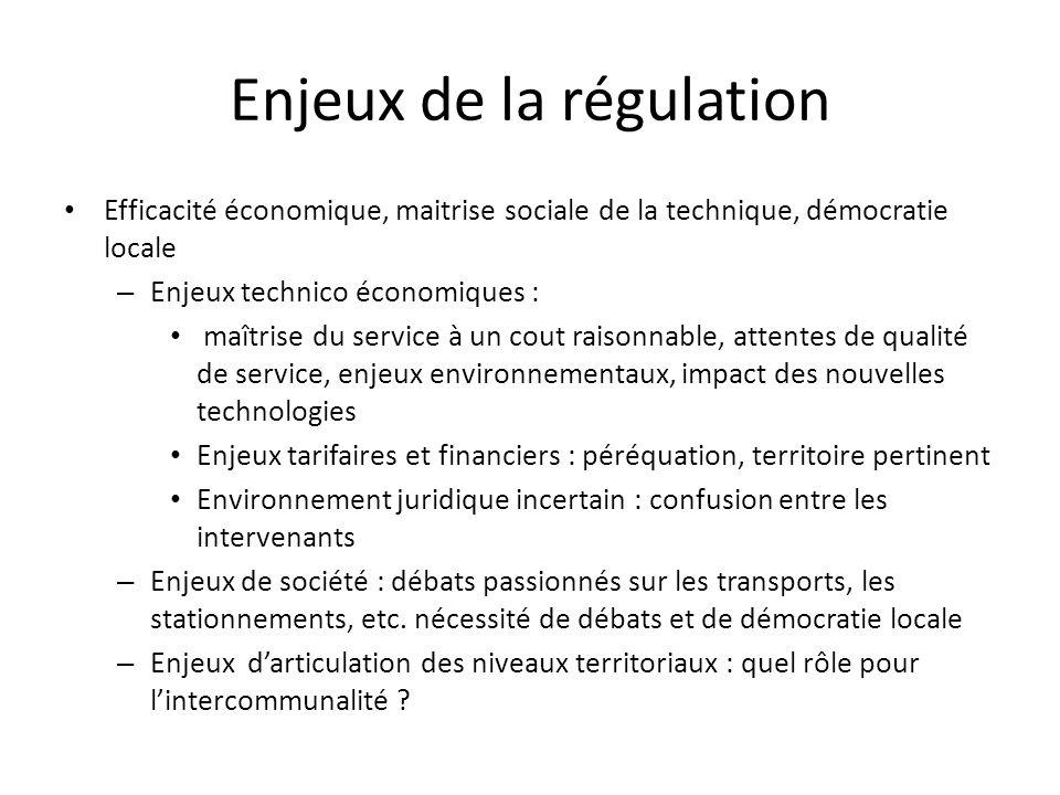 Enjeux de la régulation Efficacité économique, maitrise sociale de la technique, démocratie locale – Enjeux technico économiques : maîtrise du service