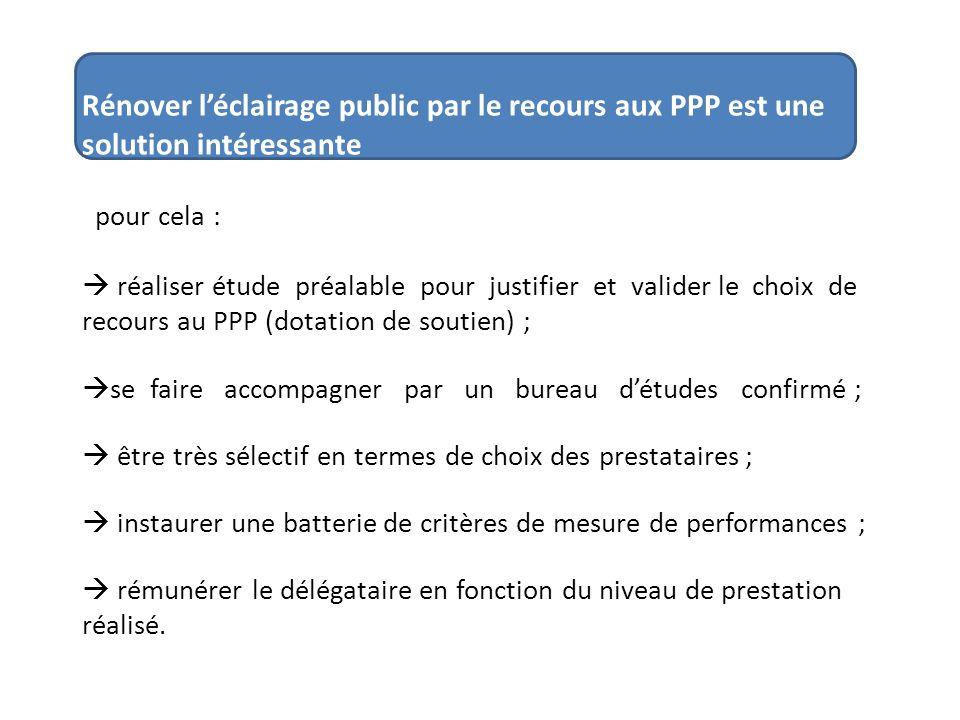 Rénover léclairage public par le recours aux PPP est une solution intéressante pour cela : réaliser étude préalable pour justifier et valider le choix
