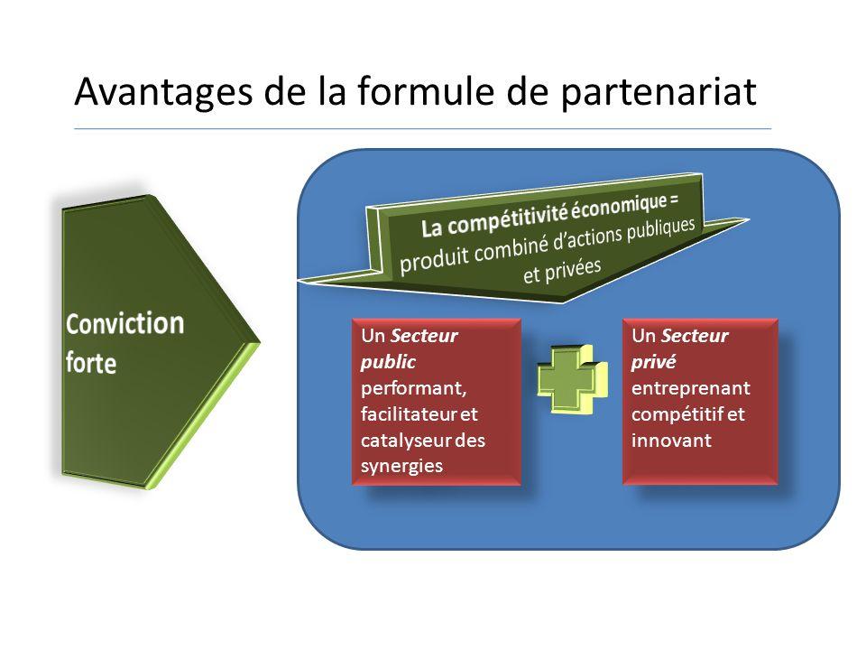 Un Secteur public performant, facilitateur et catalyseur des synergies Un Secteur privé entreprenant compétitif et innovant Un Secteur privé entrepren