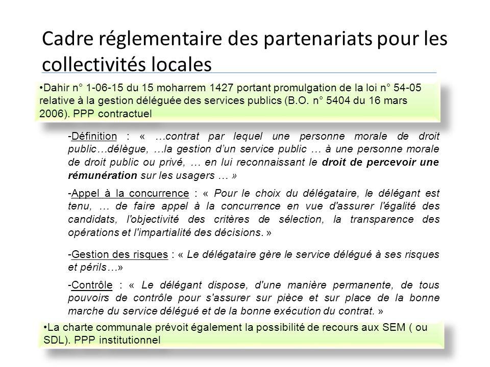 Cadre réglementaire des partenariats pour les collectivités locales Dahir n° 1-06-15 du 15 moharrem 1427 portant promulgation de la loi n° 54-05 relat